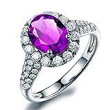 KnSam Ring 925 Silber Damen Hochzeitsringe Echt Amethyst Jahrestag Partnerringe Geschenk für Frauen Mutter Gr.51 (16.2) Modeschmuck