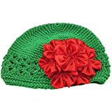 XIMA Green Christmas Crochet Baby Hat With Christmas Flower White Set Of 2