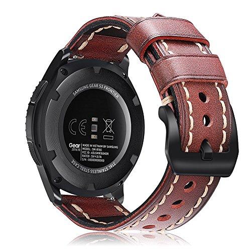 FINTIE Gear S3 Cinturino, 22mmCinturini di Ricambio in Vero Cuoio con Fibbia Classica per Samsung Galaxy Watch 46mm/Gear S3...