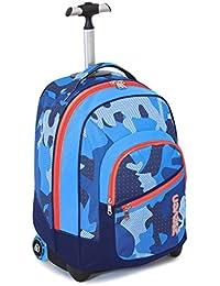 TROLLEY FIT - SEVEN - MIMETICAL -2en1 Mochila con ruedas y correas de hombro ocultables- camuflaje azul 35Lt