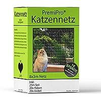 PremiPro Gato Red Fu ̈ R Balcón & Ventana | Extra Grande 8x 3m | Transparente Gato–Red–Red de Seguridad para Proteger su Gato, con Gancho, Taco Fijación DE 25m y Cuerda