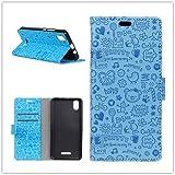 Funda® Capirotazo Billetera Funda para Wiko Lenny 4 Plus (Azul)