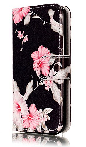 iPhone 5 C Fall, iPhone 5 C Fall, 5 C Fall, jancalm Blumen Muster Premium PU Leder Wallet [Card/Cash Slots] Ständer Magnetic Flip Folio Cover für Apple iPhone 5 C + Crystal Pen, Black/Flower Att Flip Handys
