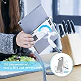 """Lamicall Gooseneck Tablet Holder, Tablet Stand : Flexible Lazy Bracket Bed Desk Mount Compatible with Pad mini 2 3 4, Pad Air Pro, Phone Xs Max XR X 8, Nintendo Switch, for 4.7~10.5"""" Devices - Gray"""