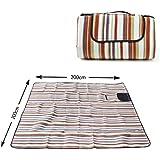 Manta de picnic XXL 200 x 200cm, manta de camping aislante, impermeable y plegable con asa de la marca Ocean5, color: multicolore - rayas