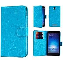 Xiaomi Redmi Note 2 Funda Carcasa Flip de Piel PU Tipo Libro Billetera con Tapa y Tarjetero de 32nd®, incluye protector de pantalla y lapiz optico- Azul Claro