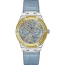 GUESS Women's Quartz Watch with Blue Dial Analogue Display and Blue Leather Bracelet W0289L2
