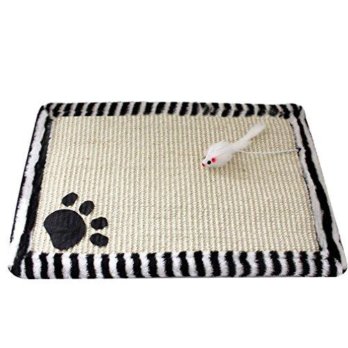Yuncai Niedlich Katze kratzmatte Claws Schleif Sisal Kratzteppich für Kätzchen Haustier Schwarz Weiß