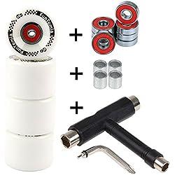 FunTomia - Lot de 4grosses roues de skateboard ou longboard à LED - 65x45mm - 80A avecroulements et espaceurs magnétique Mach1®, dureté 80A, 4x weiße Rollen + 1x T-Tool