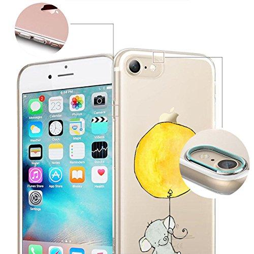 finoo | iPhone 8 Weiche flexible Silikon-Handy-Hülle | Transparente TPU Cover Schale mit Motiv | Tasche Case Etui mit Ultra Slim Rundum-schutz | Gameboy Elefant gelber Luftballon