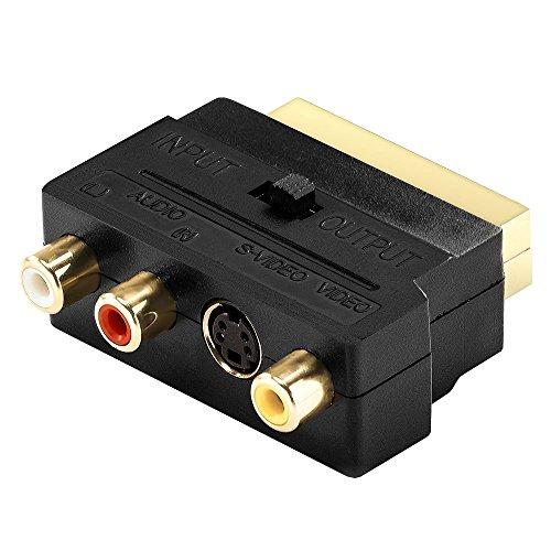 Top-Longer Video Adapter Scart auf 3x Cinch Buchsen IN/OUT Umschalter + S-VIDEO / S-VHS AV Audio [ vergoldete Kontakte ] (Gamecube-zu-hdmi-anschluss)