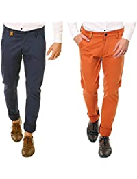 Nimegh Royal Blue and Royal Orange Color Slim Fit Cotton Casual Trouser For Men's (Pack Of 2)