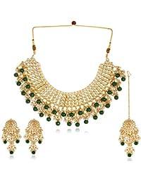Karatcart 22K GoldPlated Traditional Kundan Pearl Bridal Green Choker Jewellery Set for Women