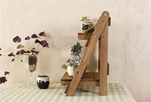 DFHHG® Estantes de flor de estante marrón Dos capas doblan rejilla retro 30 * 27.5 * 35 Cm durable ( Color : #1 )
