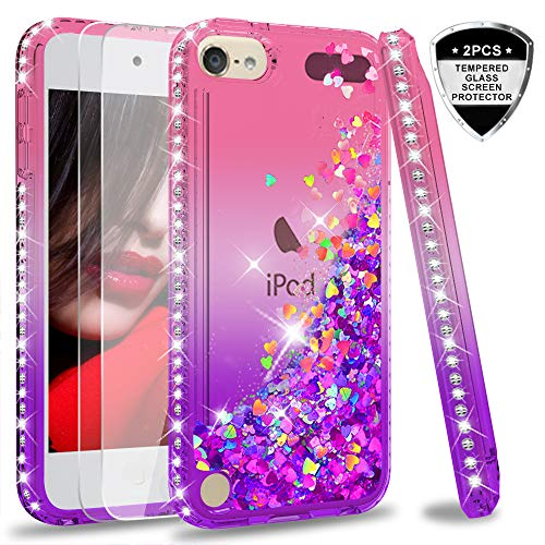 LeYi Hülle iPod Touch 6 / iPod Touch 5 Glitzer Handyhülle mit Panzerglas Schutzfolie(2 Stück),Cover Diamond Bumper Schutzhülle für Case iPod Touch 6/Touch 5 Handy Hüllen ZX Gradient Pink Purple (Pink Ipod Touch Fall)