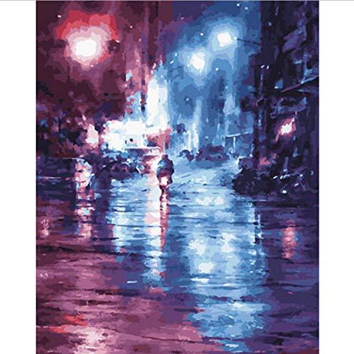 CBUSYS Rahmenlose DIY Gemälde Nach Zahlen Malen Nach Zahlen Für Wohnkultur Ölgemälde 50 * 65 cm Walking In The Street