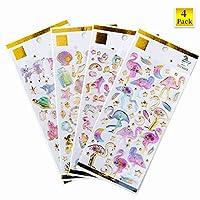 3D Stickers 4 Packs, Flamingo, Galaxies, Unicorns, Castles, Beautiful Undersea World, Glittering Coloured 3D Stickers for Children, Teacher, Parent, Grandparent, Kids, Craft, School, Scrapbooking