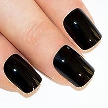 Uñas Postizas Manicura Francesa Puntas Medianas Belleza Negra y Oscura Cobertura Total de Bling Art, RU