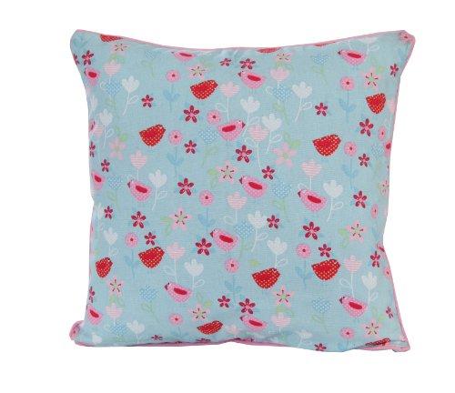 Homescapes dekorative Kissenhülle Birds and Flowers, 45 x 45 cm, Kissenbezug mit Reißverschluss aus 100% reiner Baumwolle