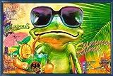 Poster mit Rahmen 61 x 91,5 cm, Blau - Cooler Frosch mit Sonnenbrille gerahmt - Antireflex Acrylglas