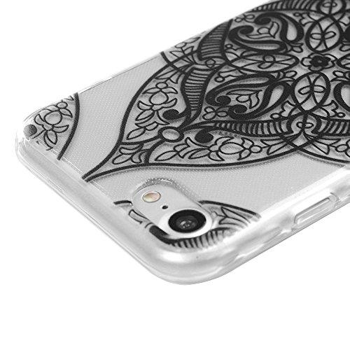 iPhone 7 Hülle Kasos iPhone 7 TPU Silikon Case Schutzhülle Ultra Dünn Painted Transparent Handy Cover Wellenförmige Border Handytasche mit Eule Design Schwarze Muster