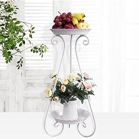 YYF Porte-fleurs Plancher en bois à plusieurs étages Étagère polyvalente en polyuréthane Multi-fleur à étages Salon de style européen Étagère à fleurs de balcon Radis vert ( Couleur : B )