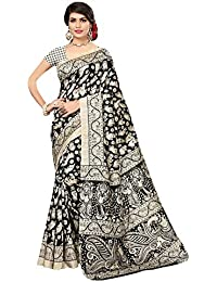 Saree Mall Cotton Silk Saree With Blouse Piece(Saree Women Latest Design 2018 Srja022_Black Free Size)