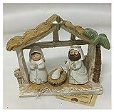 Piccolo Presepe essenziale sacra famiglia nella capanna Giuseppe Maria Gesù bianco beige casa shabby