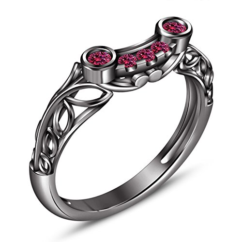 Vorra Fashion Einzigartiges Design 925Sterling Silber Rund Cut Rosa Saphir Damen schwarz rhodiniert Band Ring (Schwarz Und Rosa Saphir-ring)