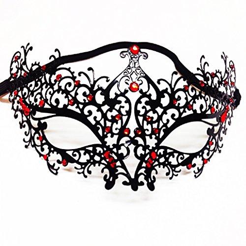(ShineBlue Masquerade Maske Filigrane Metall Eyemask mit Rhinesones für Frauen Kostüm Maskenball Fancy Party 2 (schwarz / rot))