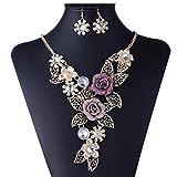 Halsband Choker Statement Bib Halsketten Ohrringe Schmuck-Set für Frauen, Mingfa Mädchen Kette mit Blumen-Anhänger