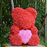 Auntwhale The Rose Teddy Bear Artificial Forever Rose, Suitable for Lover Girlfriend Lovely Cartoon Gift