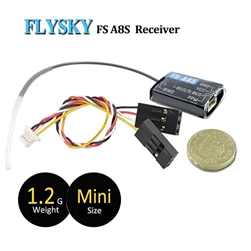 Flysky FS-A8S Mini Receptor with 8CH PPM 18CH IBUS SBUS Output 2.4GHz Micro RC Receiver Compatibile Flysky FS i4 i6 t6 i6S i6X TM10 TM8 RC Transmisor for FPV Racing RC Drone Quadcopter by LITEBEE