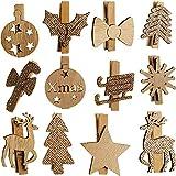 Unbekannt 24 TLG. Set - Holz - Dekoklammern - Winter & Weihnachten - Natur Silber - Gold - Glitzer - Mini - kleine Holzklammern - Anhänger - Weihnachtsdeko / Winter - W..