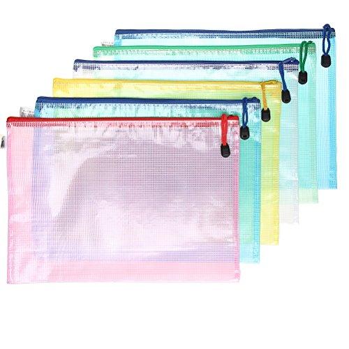 ofoen Mesh Dokument Tasche, 6Stück Papier der A4Dokument Tasche Zip-Datei Tasche für Schule Büro Hausaufgaben Cosmetics Aufbewahrung Reise Zubehör Verschiedene Farben