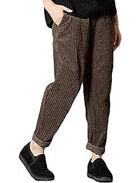 Tempo Libero Pantaloni Donna Eleganti Moda Lunga Pants Con Multi-Tasca  Velluto A Coste Abbottonatura Grazioso… f500fe513de