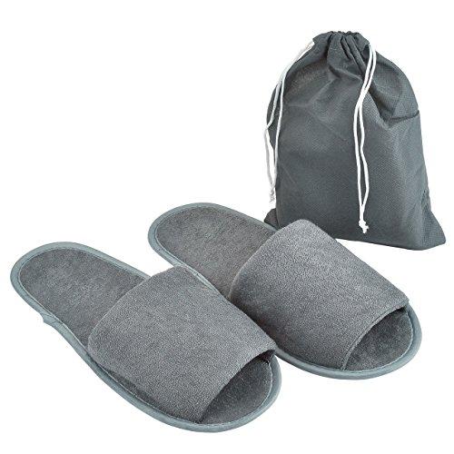 Mangostyle 5 paia set pantofole ciabatte da viaggio unisex misura unica con sacchetto da viaggio ciabatte portatile pieghevole antiscivolo in morbida spugna di cotone 5pcs - grigio