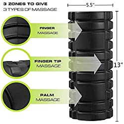 REEHUT Rodillo de Espuma 2-en-1 para Puntos Desencadenantes y Masaje para Músculos Dolorosos, Músculos Tensos + Rodillos Lisos para la Rehabilitación E-Book Gratis para Usuarios, 33 * 14cm