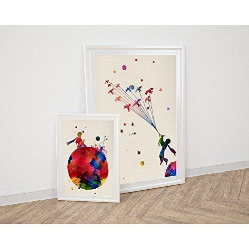 PACK de láminas PRINCIPITO PLANETA. Posters estilo acuarela con imágenes del principito. Decoración de hogar. Láminas para enmarcar. Papel 250 gramos alta calidad …