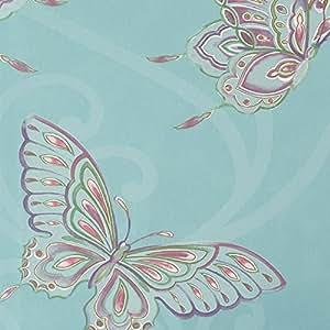 K2 - Papier Peint Mural Motif Papillon Bleu Turquoise