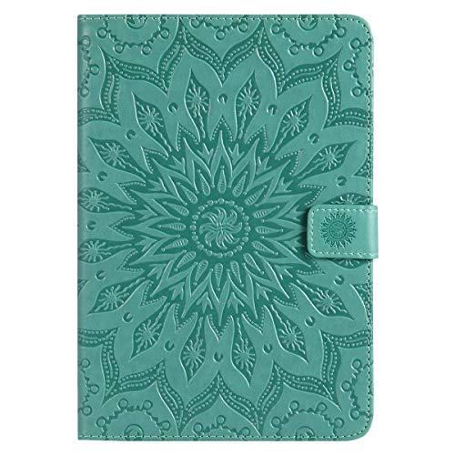 Felfy Kompatibel mit Hülle iPad Mini/Mini 2 / Mini 3 Case Ledertasche PU Leder Elegante Retro Handyhülle Tasche Flip Cover Wallet Sonnenblume Prägung Muster Strap Brieftasche Cover Case,Grün