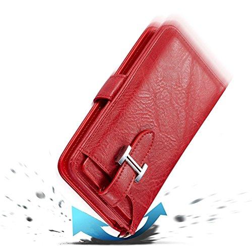 Cover per iPhone 6 Pelle, Custodia per iPhone 6S ,Libro Premium Retro PU e Snap-on Book Style Internamente Silicone TPU Case [2 in 1, Separato] [Pellicole Protettive] - Bonice Stand Flip Wallet Card S Premium-Cover-03