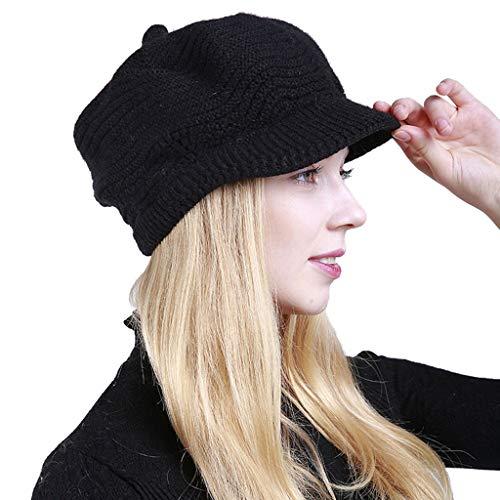 Mitlfuny Black Friay DE Cyber Monday DE,Frauen-Winter-Designlinie Solider Gehörschutz Slouchy Berets ()