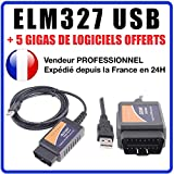 MISTER DIAGNOSTIC Diagnose-Interface ELM327 USB V1.5 + Software in FR Elm 327 OBD Diagnose OBD2 Multimarke