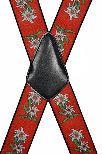 Hosenträger extra starken für Herren mit 4 Clips X-Form - 4cm. Edelweiß-Design, Rot - 2