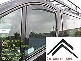 2x Deflettori D'Aria Renault Trafic (Tipo X83) 2001 - 2014 MK2 Opel Vivaro Nissan Primastar In-Channel Antiturbo Per Auto Vetro Acrilico Anti Vento Guardia di Pioggia Sole Neve