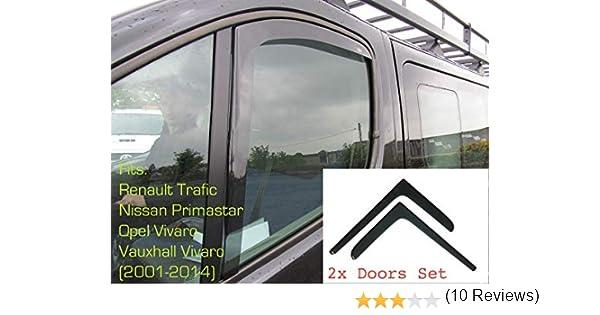 Tipo X83 2001-2014 MK2 Opel Vivaro Nissan Primastar In-Channel Antiturbo Per Auto Vetro Acrilico Anti Vento Guardia di Pioggia Sole Neve 2x Deflettori DAria Renault Trafic