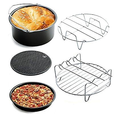 5 Stck Air Fryer Heiluftfritteuse Zubehr Kit Cake Barrelpizza Panmetall Halterspie Racksilikon Mat Fit Alle 32qt 3l Nach Oben