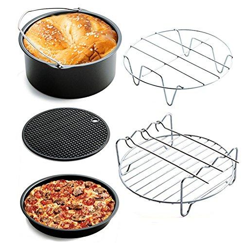 CJOY Luftfritteuse Zubehör, Set von 5 Heißluftfritteuse Kuchenfass Pizzateller Metallgestell Grill Silikonmatte für Gowise Philips Cozyna