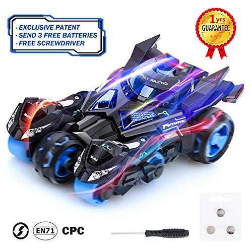 Peradix Tirer la Voiture Jouet 3 en 1 pour Enfants, Voiture avec 2 Motos Catapult, Son et lumières,jolie voiture remontable style Batman, Jeux d'extérieur en intérieur, Cadeaux pour Enfants